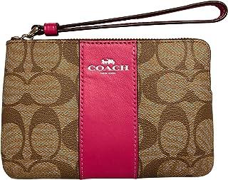 Coach Signature PVC and Leather Corner Zip Wristlet