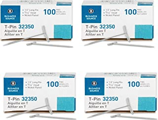 Business Source T-Pins, 1-1/2-Inch, Silver, 100/Box 4 Box of 100 pins