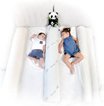 (2-Pack) DreamyPanda Toddler Bed Rail Bumper/Foam Guard for Bed - Large - Side Rail with Bamboo Cover - Pillow Pad for Toddlers, Kids [White Bamboo]