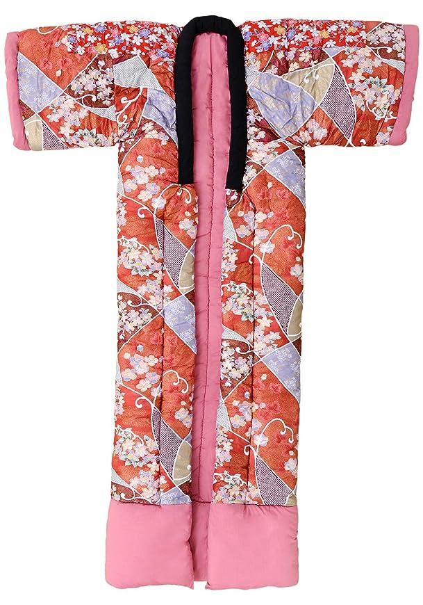 野望シネウィ主観的エムール かいまき布団 花柄ピンク 掻巻 日本製 国産 掛け布団 防寒 ぽかぽか 寝具 あたたかい 和風 和柄