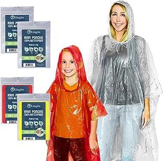 Lingito Rain Ponchos Family Pack   Emergency Raincoat Drawstring Hood Poncho for Children and Adults   Lightweight Reusabl...