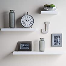 aimu Set of 3 Floating Wall Shelves Storage Shelf Home Office Decor Display Wood Shelf White