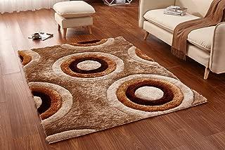 Ottomanson Beige Circles Shag Area Rug, 5'3