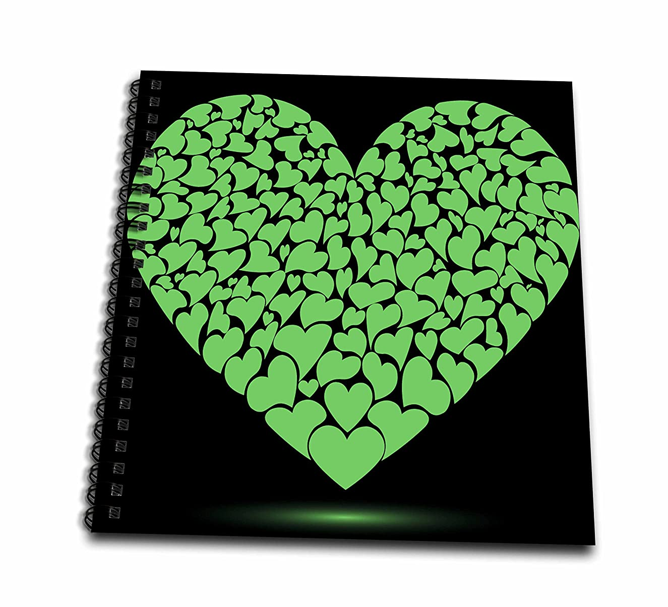 3dRose db_101578_1 Large Green Heart Made of Smaller Hearts-Drawing Book, 8 by 8-Inch
