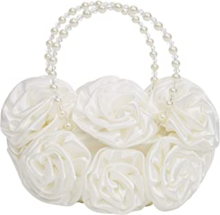 Dressy Daisy Girls' Satin Rosettes Pearls Purse Tote HandBag Wedding Flower Girl