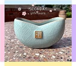 Office Decor Business Card Holder Desktop | Ceramic Indoor planter, Handmade Porcelain Container, Countertop Office Restaurant Home Decor 1 pc(Greenish Blue)