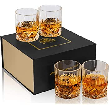 KANARS Old Fashioned Whiskey Glasses with Luxury Box - 10 Oz Rocks Barware For Scotch, Bourbon, Liquor and Cocktail Drinks - Set of 4