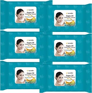 Kareway Epielle Argan Oil Makeup Remover Cleaning Towelettes, 30 Counts (Pack of 6)