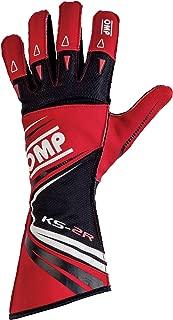 OMP KS-2R Karting Gloves (Size Large, Red/Black)