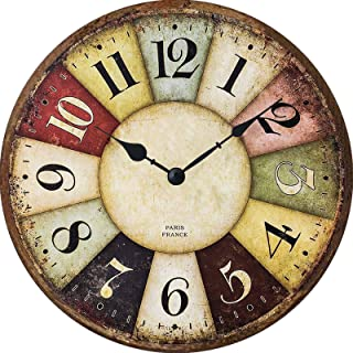 XinsFaith Vintage French Cafe-Rustic Clock-Frameless Wall Clock-Decorative Wall Clock-9.5 Inch Battery Operated Quartz Clo...
