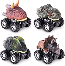 Pull Back Original Dinosaur Cars 4-Pack Dino Cars Toys with Big Tire Wheel for 2-14 Year Old Boys Girls Creative Gifts for Kids Animal Vehicles for Kids Party Favors
