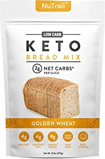 NuTrail™ - Keto Bread Mix - Only 2g Net Carbs per slice - Makes 1 Large Loaf - Low Carb Food - Easy Baking (13.3 oz) (1 Co...
