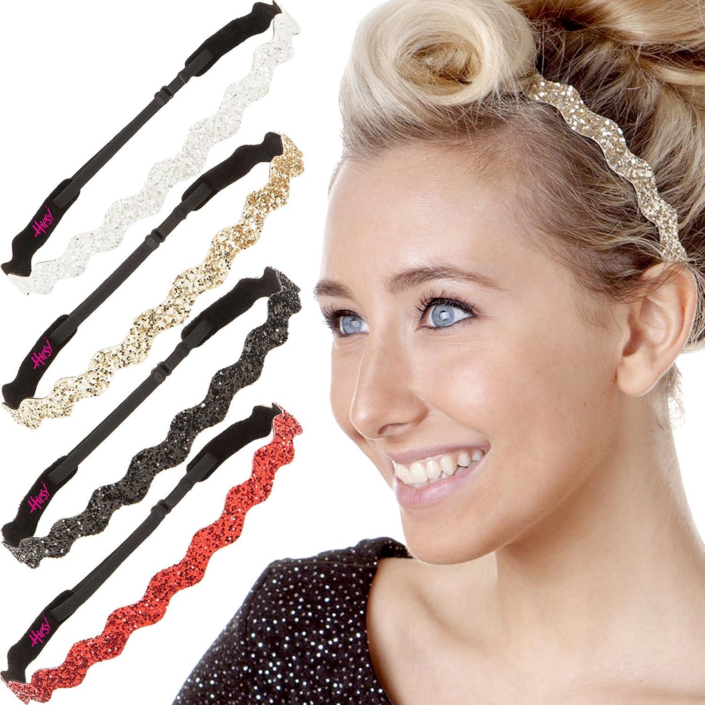 Hipsy 5pk Women's Adjustable NON SLIP Wave Bling Glitter Multi Gift Pack