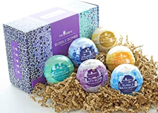 Relaxing Bubble Bath Bombs Gift Set by Two Sisters Spa. 6 Large 99% Natural Fizzies For Women, Teens and Kids. Moisturizes Dry Sensitive Skin. Releases Lush Color, Scent, and Bubbles. Handmade in USA.