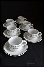 Set 6 Short White & Black Cappuccino 6oz Italian-Cafe Coffee Cups & Saucers