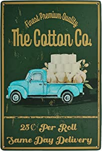 TISOSO The Cotton CO Toilet Paper Funny Truck Vintage Metal Tin Sign Farmhouse Home Decor for Office, Home, Bathroom, Restroom 8X12Inch