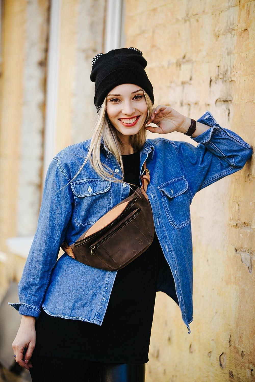 Fanny pack by Tulsa Mall Kruk Garage Brown leather bag Hip Las Vegas Mall Be Waist
