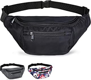Fanny Packs for Women and Men, Black Waist Bag Fanny pack for Teen Boys Girls, Plus Size Belt Bags Hip Bum Pouch with Mult...