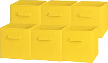 6 Pack - SimpleHouseware Foldable Cube Storage Bin, Yellow