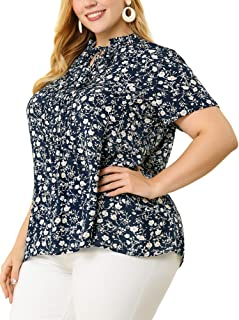 Agnes Orinda Plus Size Blouses for Women Self Tie Neck Ruffle Pleated Floral Blouse