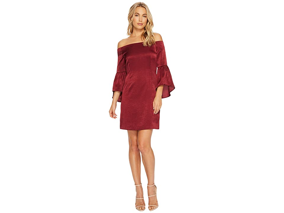 J.O.A. Off the Shoulder Bell Sleeve Dress (Wine) Women