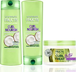 Garnier Hair Care Fructis Curl Nourish Shampoo, Conditioner, and Natural Styling Curl Treat Butter, Nourish for Frizz Resistant Curls, Frizz Free Up to 24 Hours, Paraben Free, 1 Kit