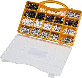 Brackit 1.020 stuks nagelkabel clip assortiment set - zwart, wit, grijs, ronde kabelclips in verschillende maten (4-12mm)...