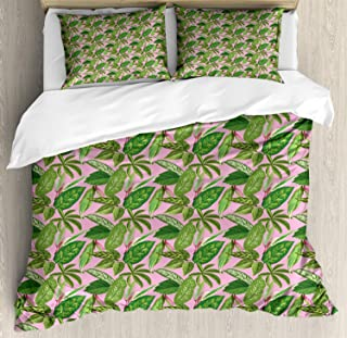 Bedding Sets Duvet Cover 3 Pieces, Tropical Ultra Soft Bed Quilt Set with 2 Pillowcases for Kids/Teens/Women/Men Bedroom Banana and Palm Leaves Island Plantation