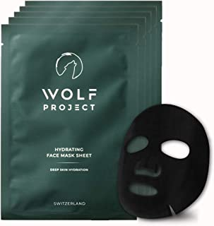 WOLF PROJECT | SHEET MASK - Hydrating face mask sheet - Box of 5, For Men, Charcoal Face Mask, Powerful nat...