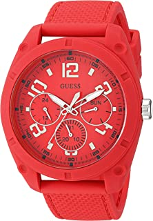 Comfortable Red Stain Resistant Silicone Watch with Day, Date + 24 Hour Military/Int'l Time. Color: Black (Model: U1256G1)