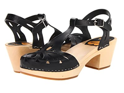 Swedish Hasbeens Lacy Sandal (Black/Nature) High Heels
