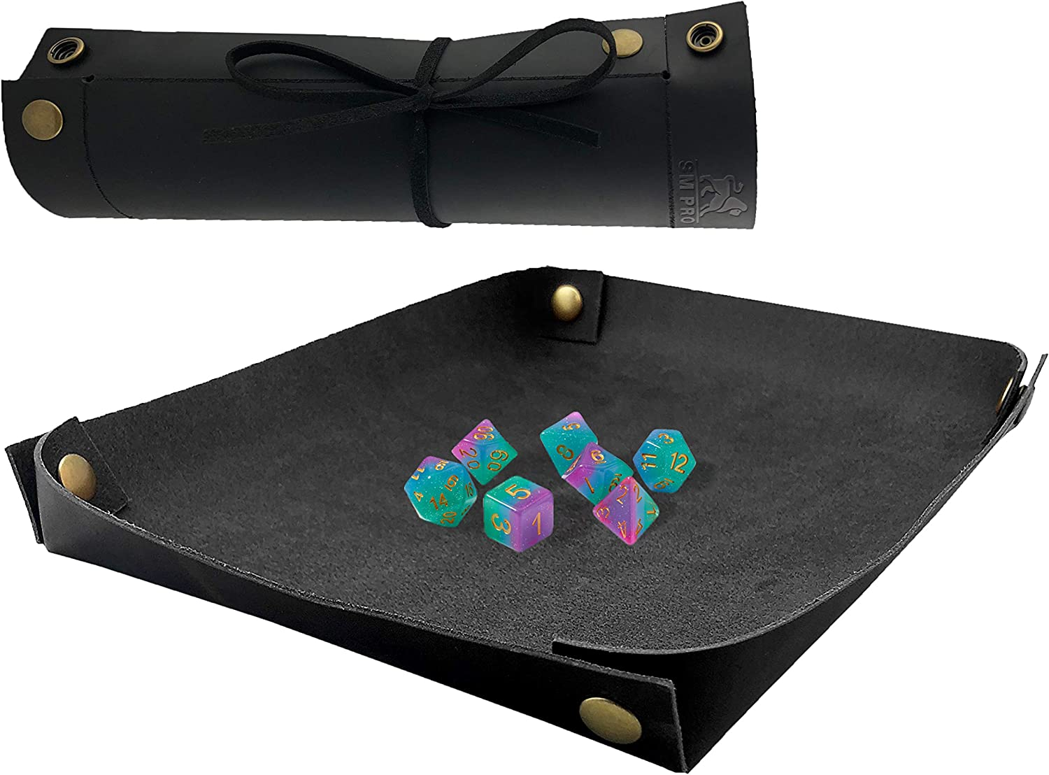 SM PRO Dice Tray - Full Grain Premium Leather Dice Mat for DND and Other RPG or Dice Rolling Games - Folding Organizer Tray for Jewelry or Keys -Portable and Collapsible for Convenience (Black)