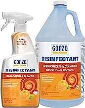 Gonzo Disinfectant Spray & Multipurpose Cleaner - Citrus Value Pack 24 oz. and 128 oz. Refill - Odor Eliminator, Disinfectant, Flood Fire Water Damage Restoration