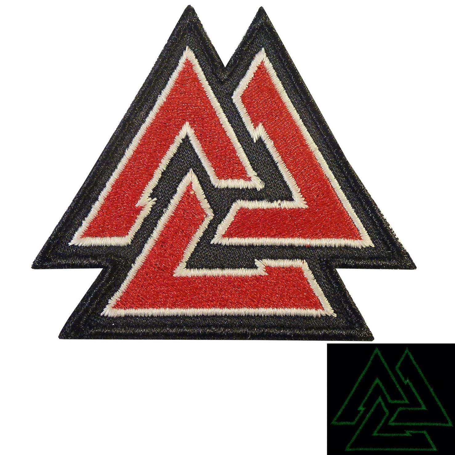 LEGEEON Glow Dark Valknut Viking Norse Rune Morale Tactical Sew Iron on Patch