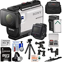 Sony Action Cam HDR-AS300R Wi-Fi HD Video Camera Camcorder & Live Remote with Bike Handlebar & Helmet Mounts + 64GB Card + Battery & Charger + Case + Tripod Kit