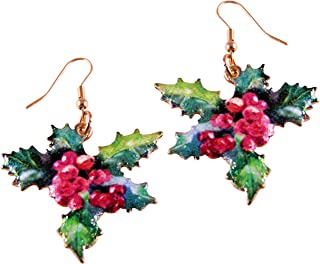 Glimmering Mistletoe and Holly Happy Holidays Earring No.450