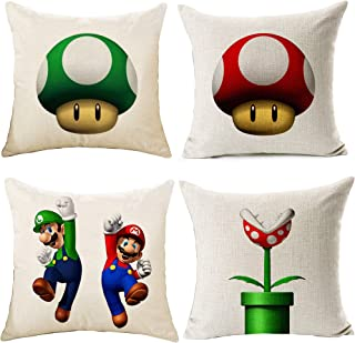 WOSTOD Set of 4 Throw Pillow Cover Super Mario Luigi Mushroom Cozy Cotton Linen Blend Cushion Covers Pillowcase for Couch Sofa Home Decoration 18 X 18 Inch