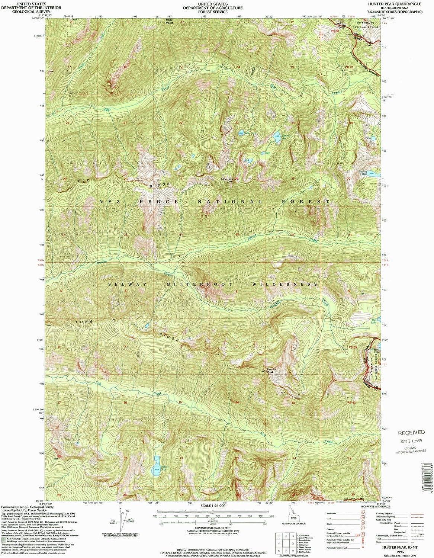 Hunter Peak ID topo map, 1 24000 Scale, 7.5 X 7.5 Minute, Historical, 1995, Updated 1999, 26.8 x 22 in