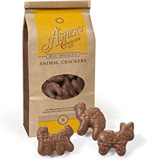 Asher's Chocolate, Gourmet Chocolate Covered Animal Crackers, Small Batches of Kosher Chocolate, Family Owned Since 1892 (6oz, Milk Chocolate)