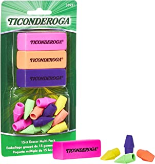 TICONDEROGA Office and School Eraser Combination Set Multi-Pack, Assorted Neon Colors, 15-Pack (38931)
