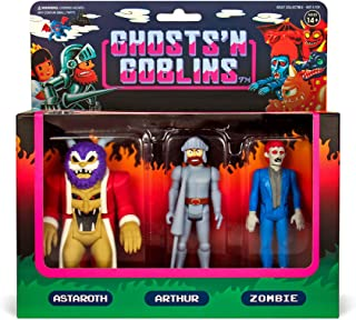 Astaroth, Arthur, Zombie: Ghosts 'n Goblins x Super7 Reaction Mini Action Figure Pack + 1 Video Games Themed Trading Card Bundle (03254)