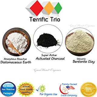 Terrific Trio: Diatomaceous Earth, Activated Charcoal & Bentonite Clay Powders (8oz Each, Total 24oz) Certified Food Grade & 100% Natural