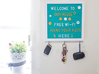 Felt Letter Board 10X10'' with 3 Key Hangers & 320 Changeable Letters   Sleek Wooden Frame, Unique Teal Color, Wall Mount Hook   for Messages, Notes, Quotes, Office, Menus, Word Games & More