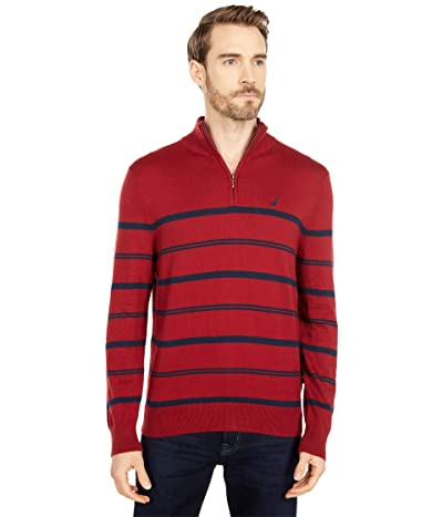 Nautica Navtech Stripe 1/4 Zip Sweater (Vintage Wine) Men