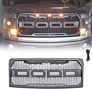 FD-ALL Grey Front Grill for Ford F150 Raptor Style 2009-2014, Replaceable Letters