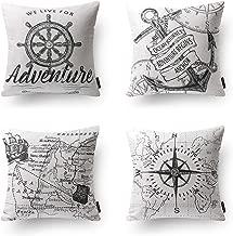 Pgantoscope Set of 4 Ocean Series 100% Cotton Grey Compass Map Anchor Navigation Throw Pillow Case Cushion Cover 18 x 18 inches 45cm x 45cm
