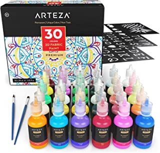 ARTEZA 3D Permanent Fabric Paint, Set of 30 Individual Colors (Include Neon & Fluorescent) for Textile, Fabric, T-Shirt, Canvas, Wood, Ceramic, Glass