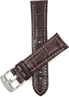 Mens Leather Watch Band - Alligator Pattern - White Stitch - 5 Colors - 18mm to 38mm (Most Sizes Also Come in Extra Long XL)