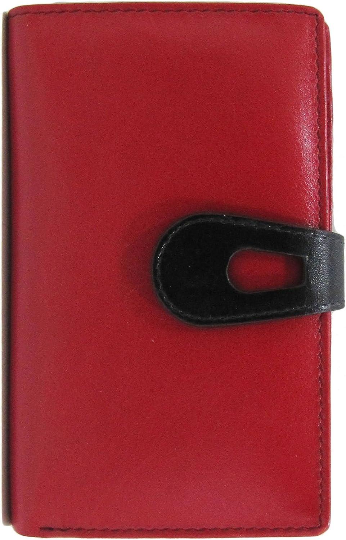 Ili New York 7813 Midi Wallet with RFID Blocking Lining (Red Black)