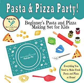 Cooking Tools & Baking Kits for Children: Pasta & Pizza Party - Beginner's Pasta and Pizza Making Set for Kids - A fun educational gift idea birthday holiday present!